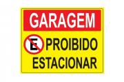 Placa PVC Garagem Proibido Estacionar 23x18cm Amarela