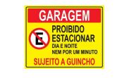 Placa PVC Garagem Proibido Estacionar Dia e Noite Amarela