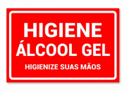 Placa PVC Higiene Álcool em Gel para Suas Mãos