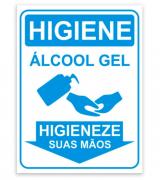 Placa PVC Higiene Álcool Gel Para as Mãos