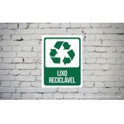 Placa PVC Indicativa Lixo Reciclável