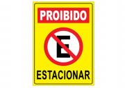 Placa PVC Indicativa Proibido Estacionar 18x23cm Amarela