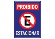 Placa PVC Indicativa Proibido Estacionar 18x23cm Azul