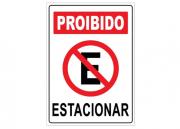 Placa PVC Indicativa Proibido Estacionar 18x23cm Branco
