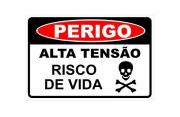 Placa PVC Perigo Alta Tensão Risco de Vida