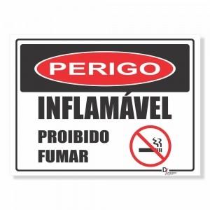 Placa PVC Perigo Inflamável Proibido Fumar