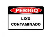 Placa PVC Perigo Lixo Contaminado 23x18cm Segurança
