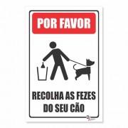 Placa PVC Por Favor as Recolha Fezes do seu Cão