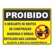 Placa PVC Proibido Descarte de Restos de Construção