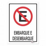 Placa PVC Proibido Estacionar Embarque e Desembarque 23x18cm