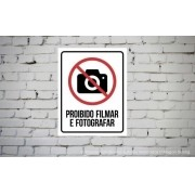 Placa PVC Proibido Filmar ou Fotografar