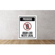 Placa PVC Proibido Jogar Lixo Neste Local