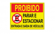Placa PVC Proibido Parar Estacionar Saída de Veículos Amarelo