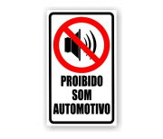 Placa PVC Proibido Som Automotivo