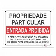 Placa PVC Propriedade Particular Entrada Proibida