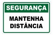 Placa PVC Segurança Mantenha Distancia Verde Branco