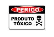 Placa PVC Segurança Perigo Produto Tóxico 23x18cm Caveira