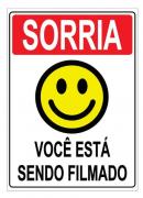 Placa PVC Sorria Você Esta Sendo Filmado 18x23cm