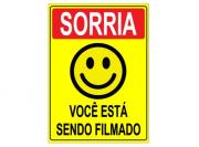 Placa PVC Sorria Você Esta Sendo Filmado 18x23cm Amarela