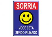 Placa PVC Sorria Você Esta Sendo Filmado 18x23cm Azul