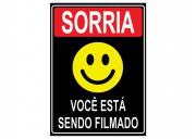 Placa PVC Sorria Você Esta Sendo Filmado 18x23cm Preto
