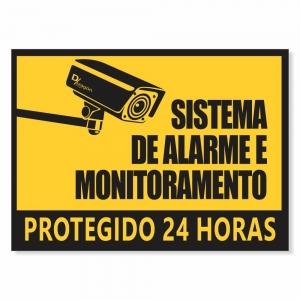 Placa Sistema de Alarme e Monitoramento Pct 6un 20x27cm