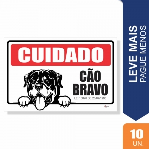 Placas Cuidado Cão Bravo Pct c/10 un PS1mm 20x27cm