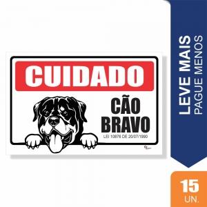 Placas Cuidado Cão Bravo Pct c/15 un PS1mm 15X20cm