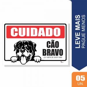 Placas Cuidado Cão Bravo Pct c/5 un PS1mm 15X20cm