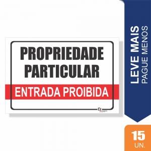 Placas Propriedade Particular Pct c/15 un PS1mm 20x27cm