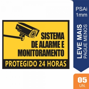 Placas Sistema de Alarme Pct c/5 un PS1mm 15X20cm