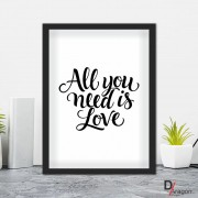 Quadro Decorativo Série Love Collection All You Need is Love