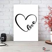 Quadro Decorativo Série Love Collection Coração Arabesco