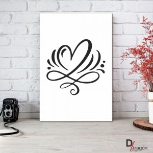 Quadro Decorativo Série Love Collection Heart Arabesco
