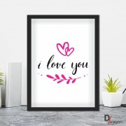 Quadro Decorativo Série Love Collection I Love You