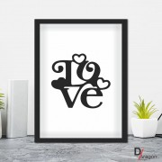 Quadro Decorativo Série Love Collection Love Minimalista