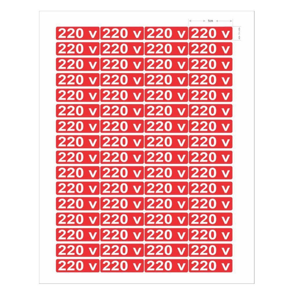 Adesivo Autocolante Etiqueta 220 v Cartela 64 Unidades