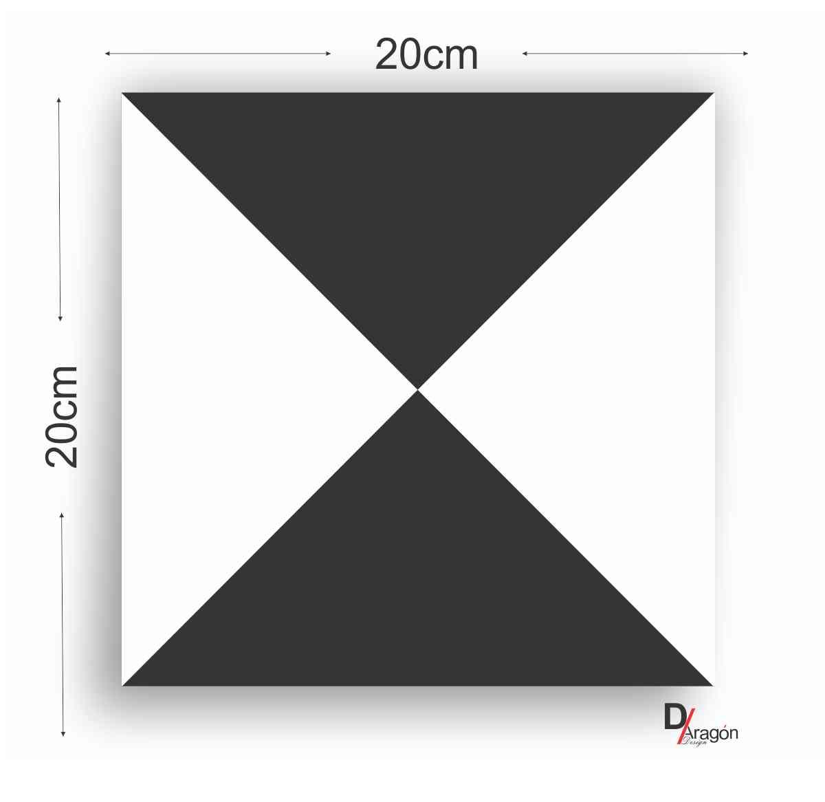 Adesivo Azulejo Triangulo Preto e Branco 20x20cm Kit 16pc