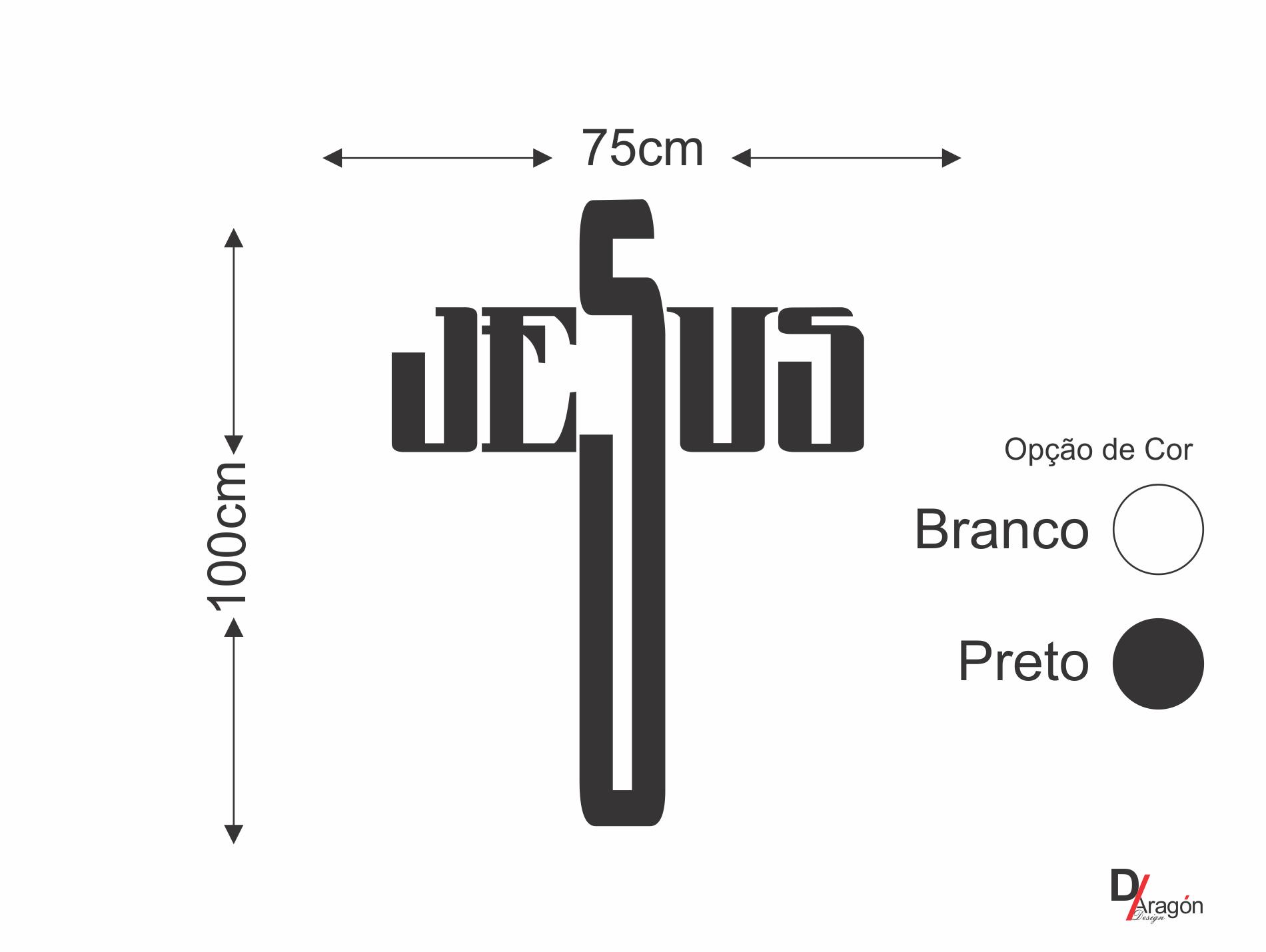 Adesivo de Parede Cabeceira da Cama Nome Jesus 140x75cm