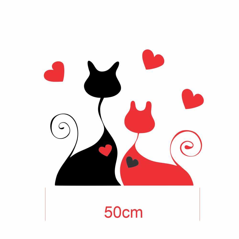 Adesivo Geladeira Casal Gato Love Preto e Vermelho