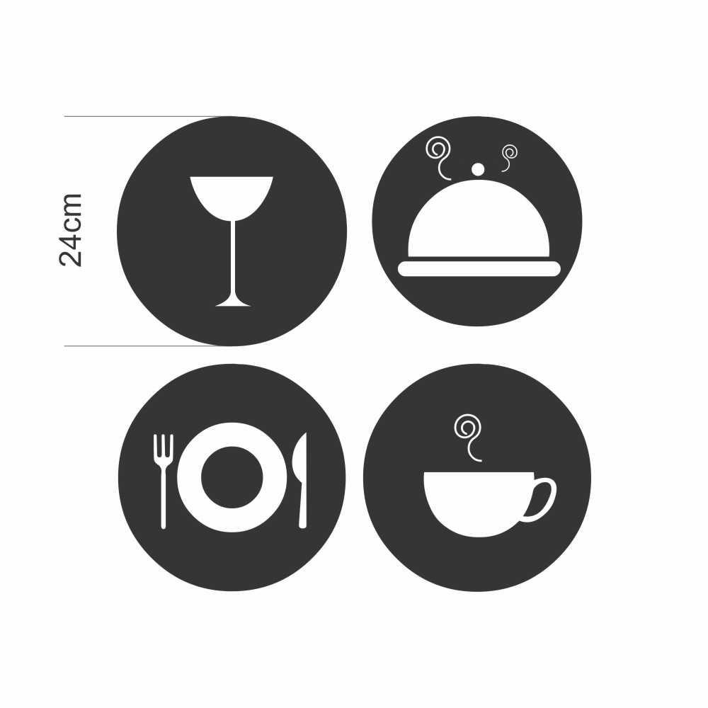 Adesivo Geladeira Icones de Cozinha Preto em Recorte
