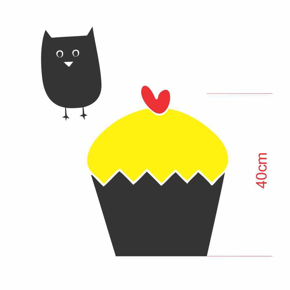 Adesivo Geladeira Silhueta Cupcake e Coruja