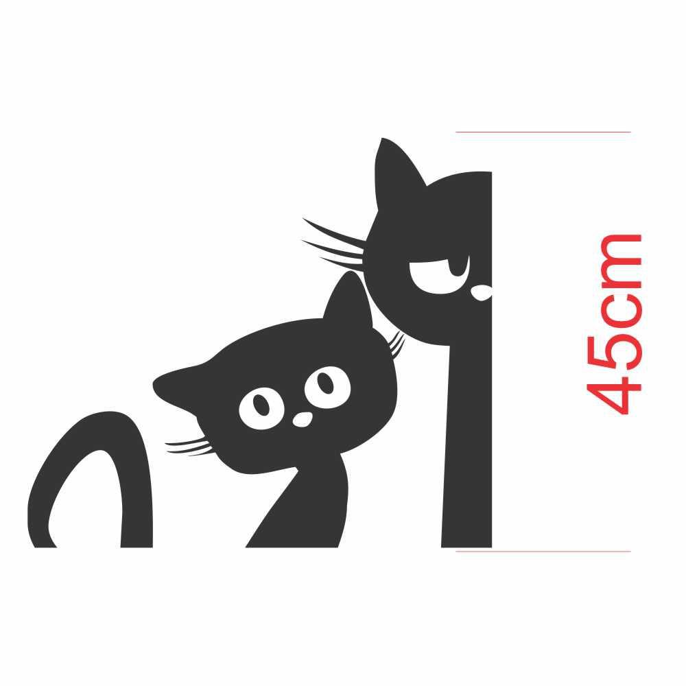 Adesivo Geladeira Silhueta Gato Assustado Gato Olhando