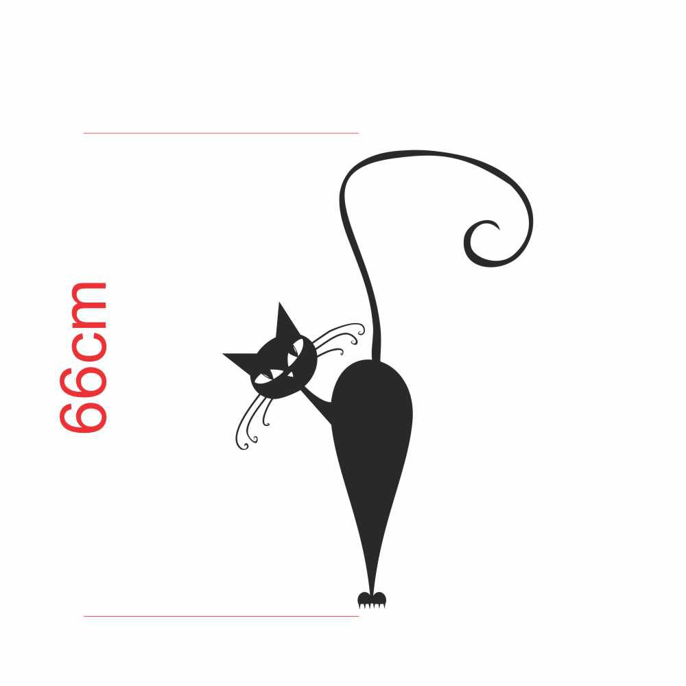 Adesivo Geladeira Silhueta Gato Preto Observando