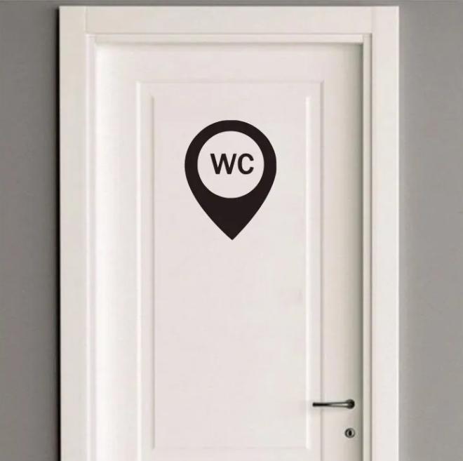 Adesivo Identificação Banheiro 26x20cm WC