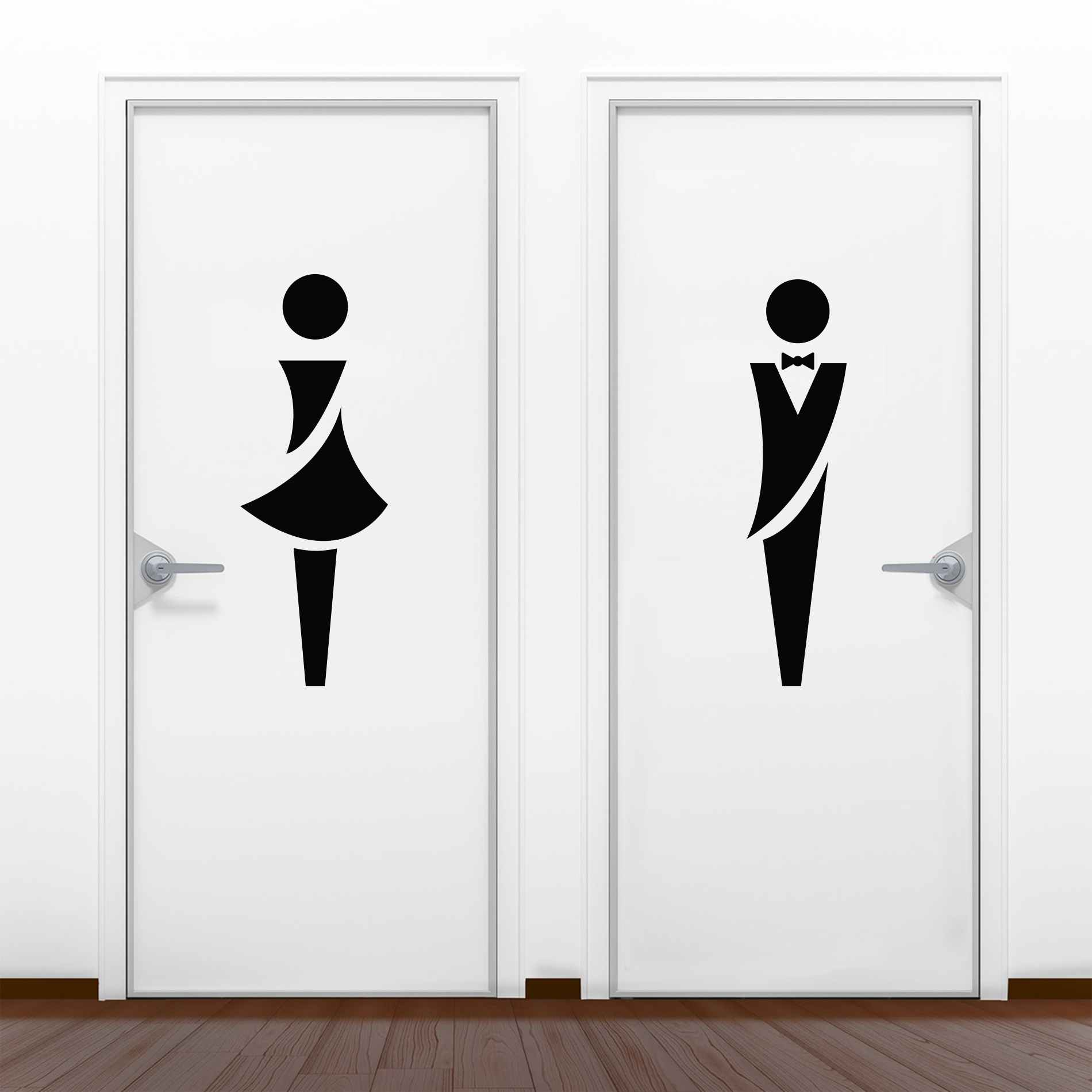 Adesivo Identificação Banheiro 60x15cm Casal 2 Peças