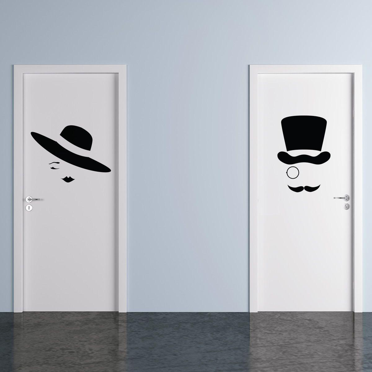 Adesivo Identificação Banheiro Abstrato 2 Peças 40x60cm