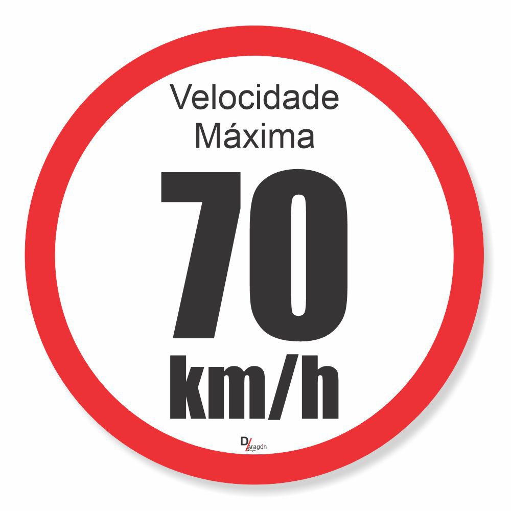 Adesivo Para Frota Velocidade Máxima 70km Pct c/5un 15x15cm