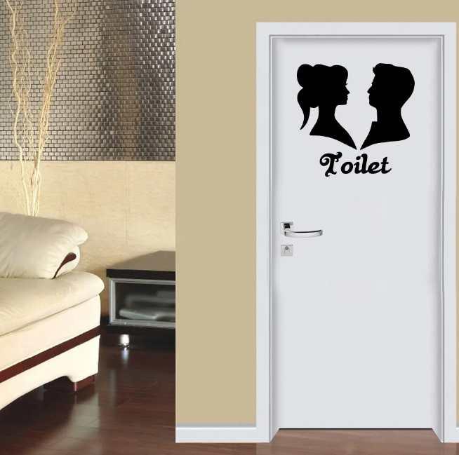 Adesivo Porta Banheiro Identificação Unisex 50x50cm