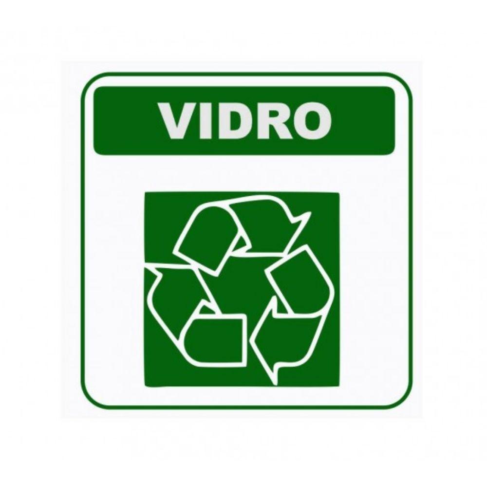 Adesivo Sinalização Identificação Lixo Vidro Reciclável